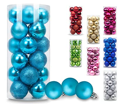 ams christmas ball ornaments exquisite colorful balls decorations pendant pack 24pcs 40mm turquoise