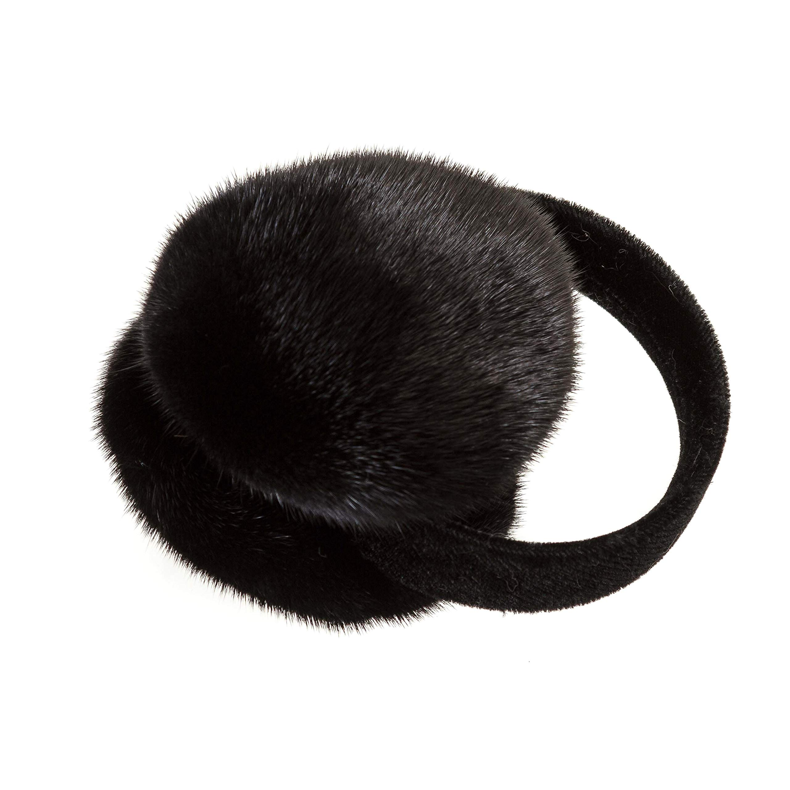 Surell Mink Fur Earmuff with Velvet Band, Ear Warmer, Winter Fashion (Black)