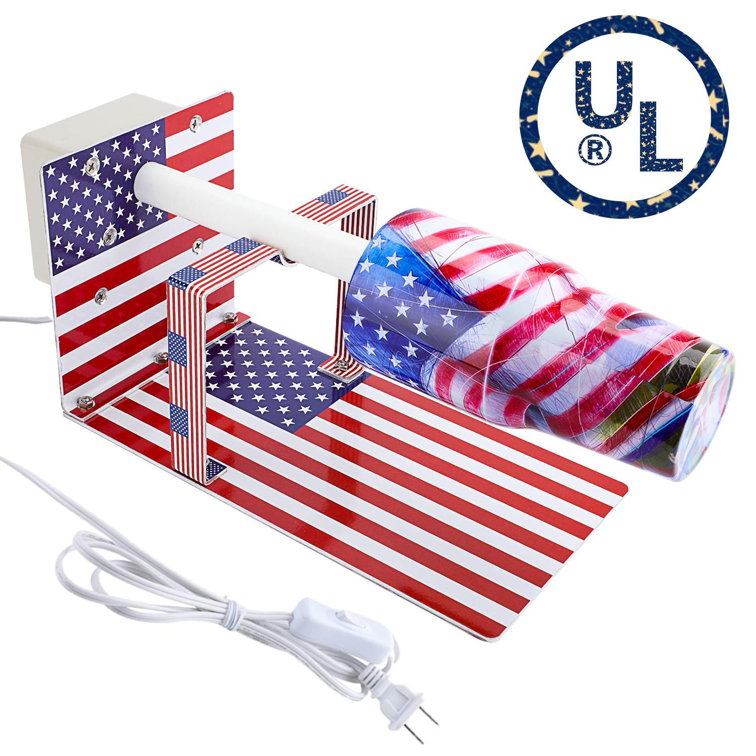 Cup Turner Spinner for Crafts Tumbler, Tumbler Turner Machine Cuptisserie Epoxy Machine with Professional Silent Balance Steering Shaft (US Flag) by HULUYAO