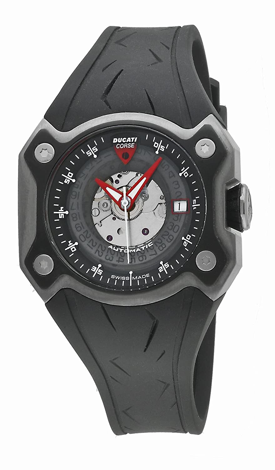 DUCATI WATCHES DESMO 3H AUTO TIT CASE TIT IP BLACK BEZ CW0018