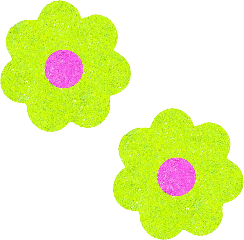 Raves Lingerie /& More Neva Nude Super Sparkle Lemon Lime Neon Blacklight Chunky Glitter Petal Nipztix Pasties Nipple Covers for Festivals Medical Grade Adhesive Waterproof Sweatproof Made in USA