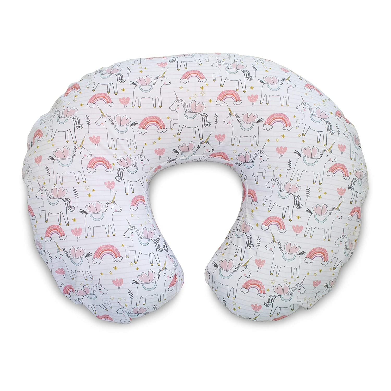 Boppy Original Nursing Pillow Slipcover, Cotton Blend Fabric, Pink Unicorns