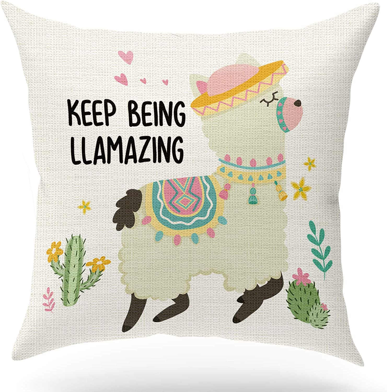 KongMoTree Inspirational Gifts Llama Gifts Llama Decorative Pillow Covers,Keep Being llamazing, Linen Pillow Case,Cute Room Decor,Home Decor Farmhouse D?or Throw Pillow Cover 18x18 inch