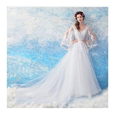 1c8249d7f4a0c カラードレス ホワイト長袖 ウェディングドレス コンサート 姫系 ウェディングカラードレス 演奏会 花嫁ドレス