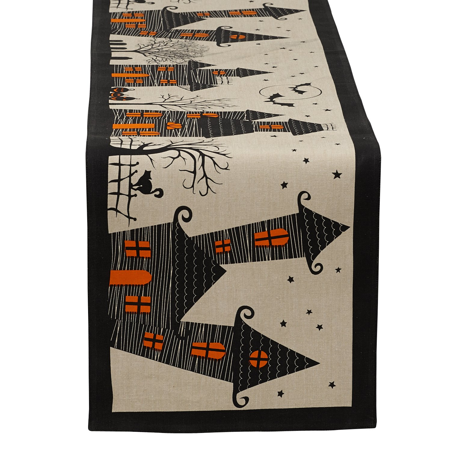 "DII 14x72"" Cotton Table Runner, Haunted House - Perfect for Halloween, Dinner Parties and Scary Movie Nights"