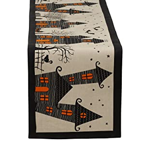 """DII 14x72"""" Cotton Table Runner, Haunted House - Perfect for Halloween, Dinner Parties and Scary Movie Nights"""