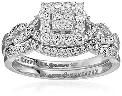 Amazoncom Keepsake Signature 14k White Gold Diamond Twist Halo