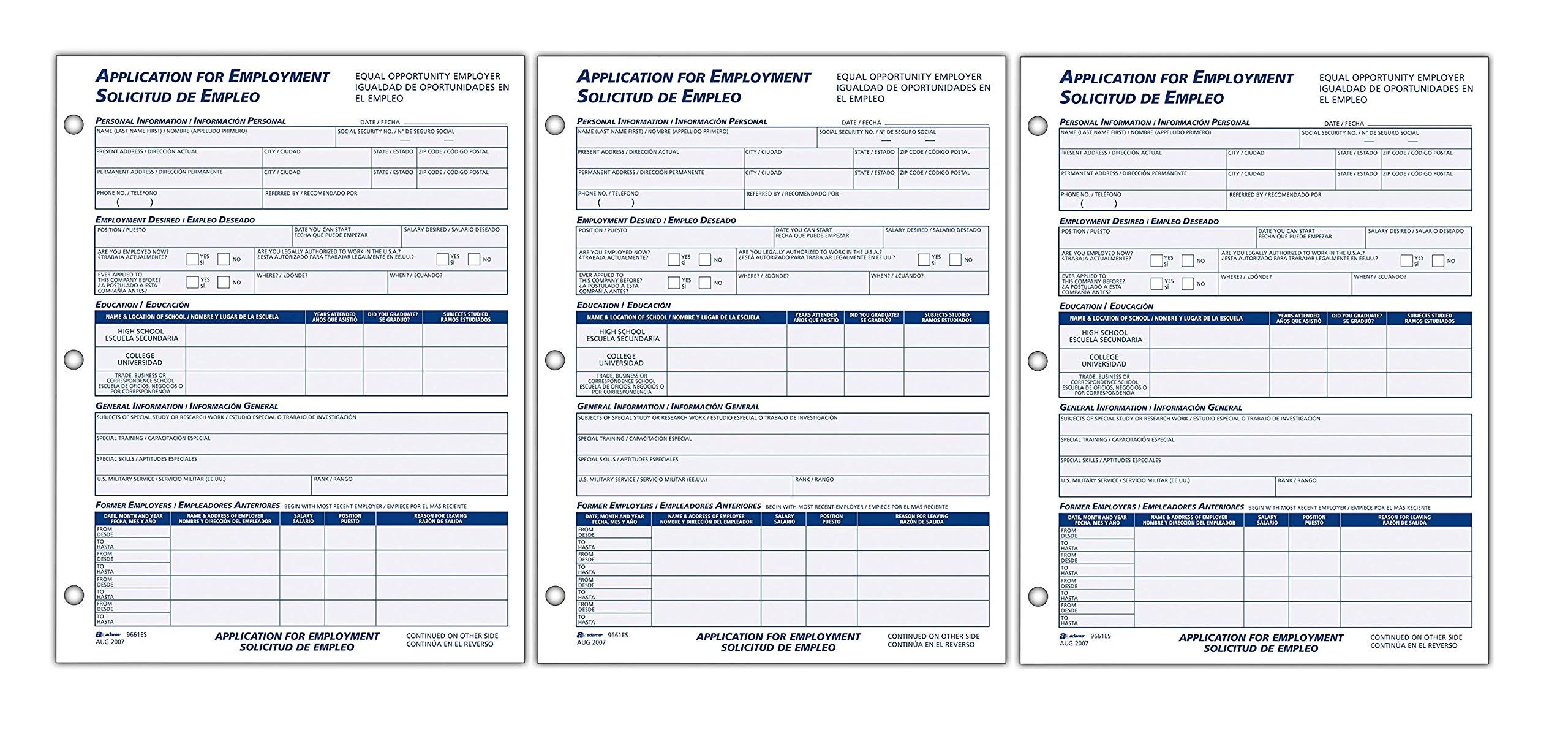 Adams Bilingual Employee Application, 8.5 x 11 Inches, White, 2-Pack (9661ES) (3) by Adams