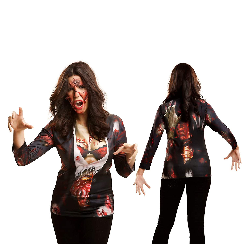 Yijja Fast Fun - Zombie Girl, camiseta de manga larga para adultos ...