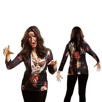Yijja Fast Fun - Zombie Girl, camiseta de manga larga para adultos, talla L