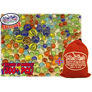 Matty's Toy Stop Deluxe 4 Pounds (300+ Count) of Cat's Eyes Marbles & Shooters with Exclusive Storage Bag