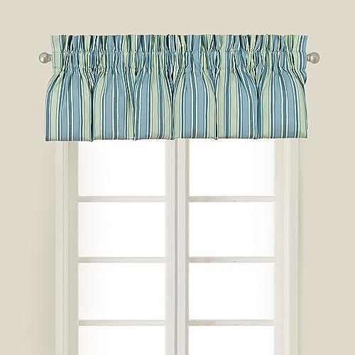 C F Home Oceana Paisley Striped Green Blue Coastal Tropical Beach Ocean Bedroom Guestroom Dining Premium Window Valance Valance Multi