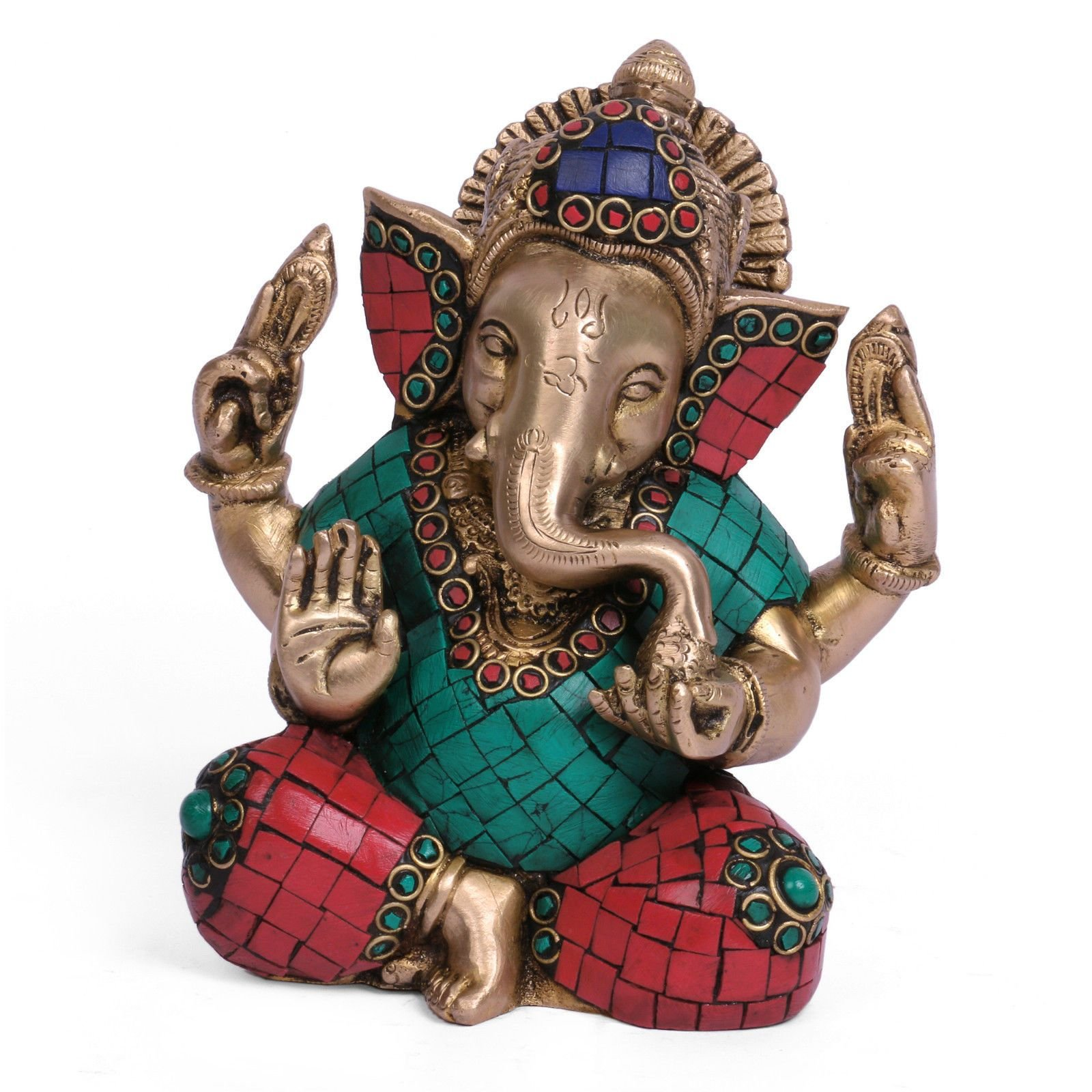 Misc Arist Handmade Auth Large Brass Turquoise Taj Ganesh Ganesha Statue India Asian Antique