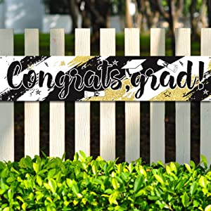 Graduation Party Decorations Graduation Banner Supplies 2021 Congrats Grad Graduation Backdrop Photo Booth Wall Party Decor for Home Classroom Indoor Outdoor Decoration (White, Gold and Black)