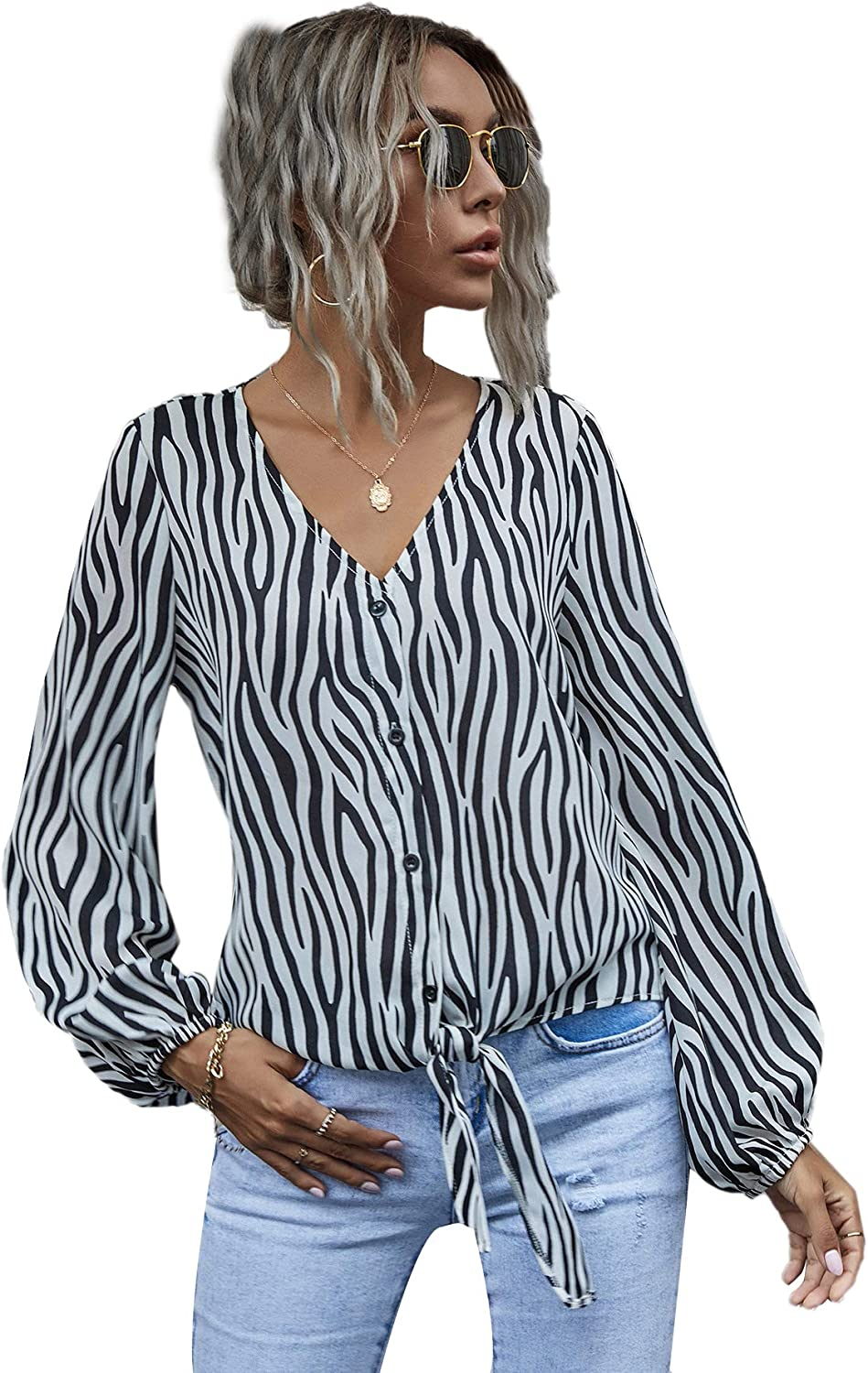 Romwe Women's Zebra Striped Button Down Knot Front Long Sleeve Casual Blouse Tops Shirts