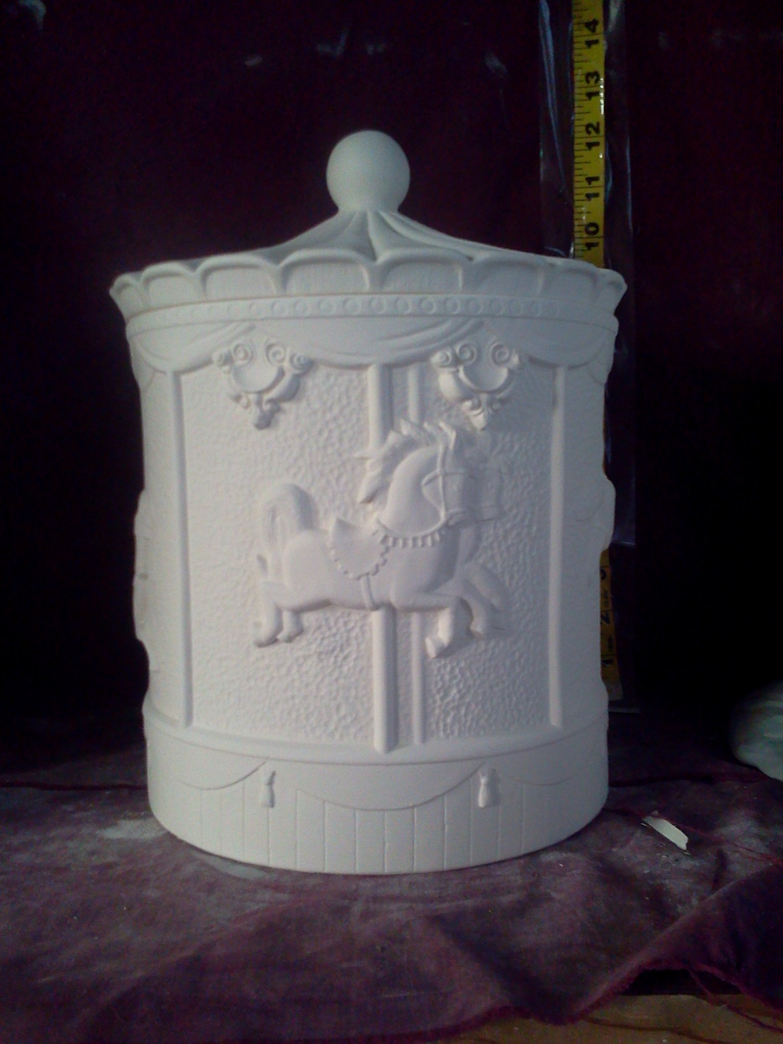 Carousel Cookie Jar / Canister 12'' Ceramic Bisque, Glazed Inside