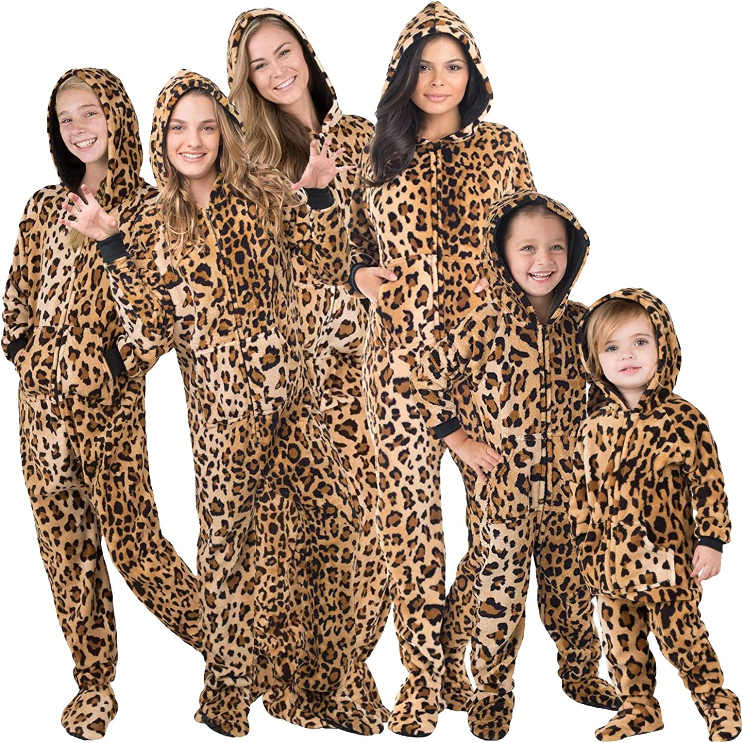 Fits 50-53 XLarge Family Matching Cheetah Print Hoodie Onesies for Boys Men Women and Pets Footed Pajamas Girls Kids
