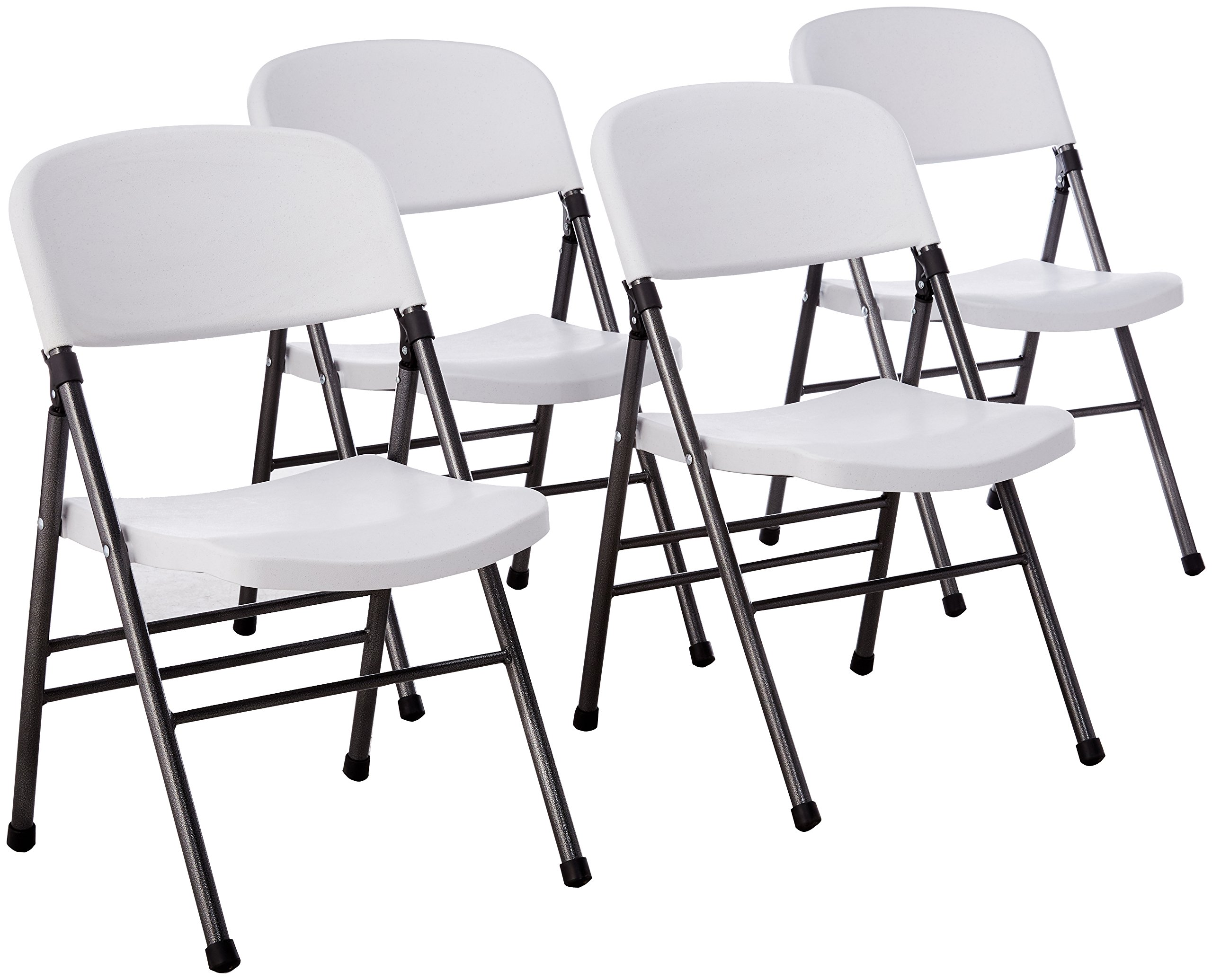 Cosco Resin Folding Chair with Molded Seat and Back White Speckle (4-pack) by Cosco