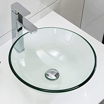 Petushouse Clear Tempered Glass Bathroom Vessel Sink And Pop Up Drain Combo Round Above Counter Bathroom Vessel Vanity Sink Washing Art Basin Bowl Amazon Com