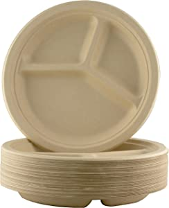 Restaurant-Grade, Biodegradable 10 Inch 3-Compartment Plates. Bulk 50 Pk. Great for Lunch and Dinner Parties. Disposable, Compostable Wheatstraw Divided Plates are Leakproof and Microwave Safe.