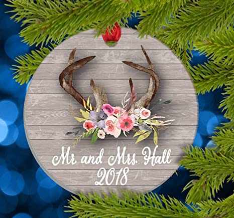Our First Married Christmas Ornament as Married Couple Married Ornament Personalized Christmas Gift Newlyweds Deer in Floral Wreath
