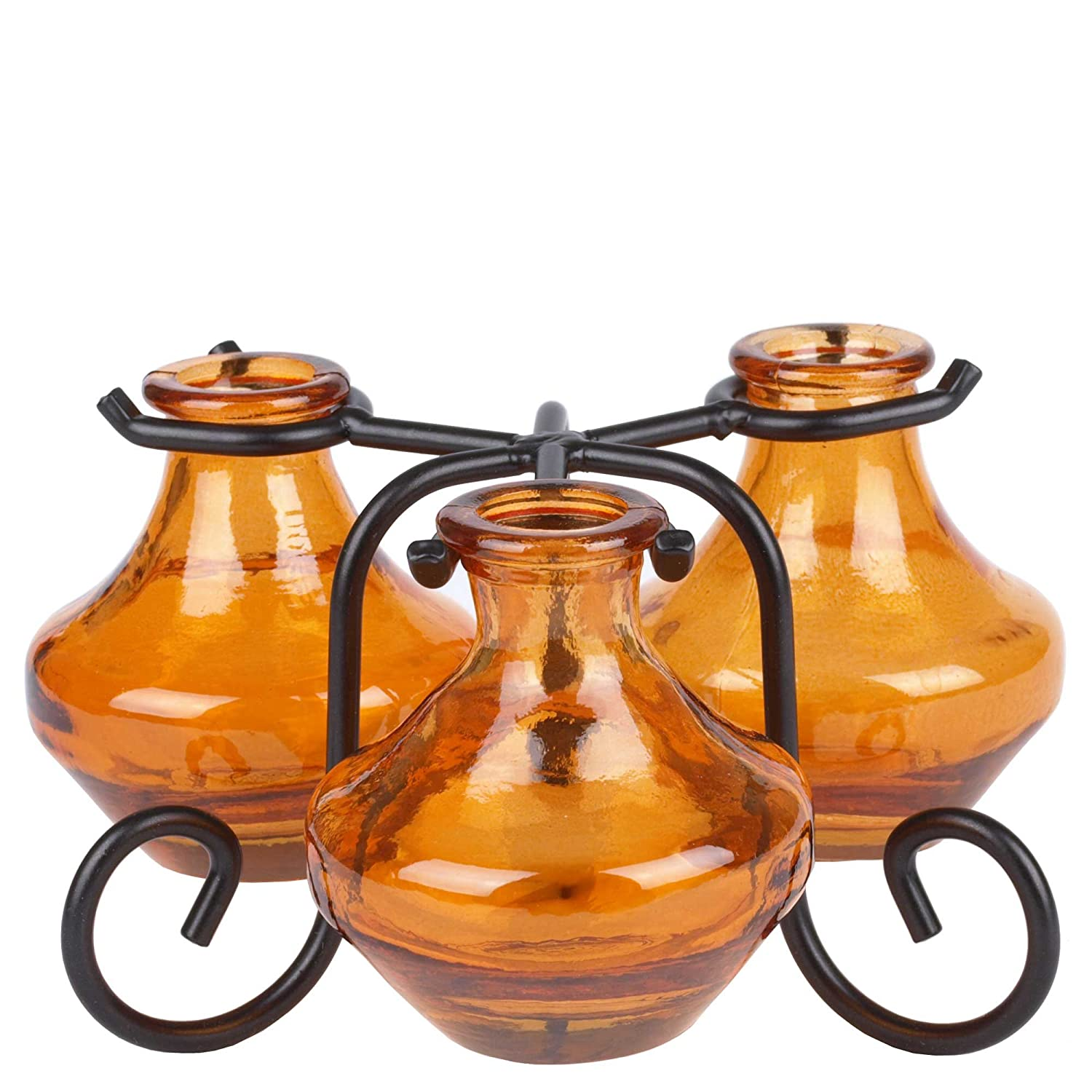 3 1//2 1 Piece Orange Couronne Company M050-G5766G08 Genie Three Recycled Glass Vases /& Metal Stand
