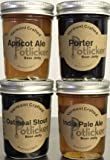 Set of 4 Jars of Craft Beer Jelly - IPA, Porter, Apricot Ale and Oatmeal Stout
