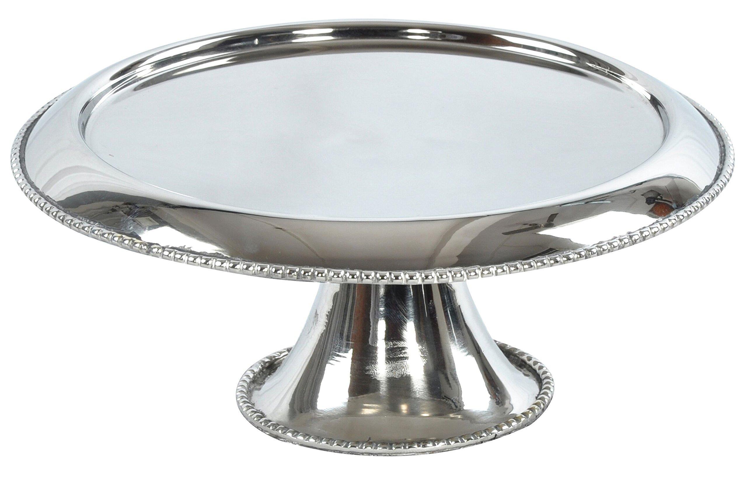Zuni 9x4 Footed Cake Display, dessert Plate w/ feet Stainless Steel Beaded edge