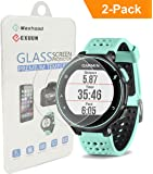 (2-Pack) Garmin Forerunner 235 225 630 620 220 230 Screen Protector Glass, Exuun Real 0.3mm Premium 2.5D Watch Tempered Glass Screen Protector Glass Film for Garmin Forerunner 235 225 630 620 220 230