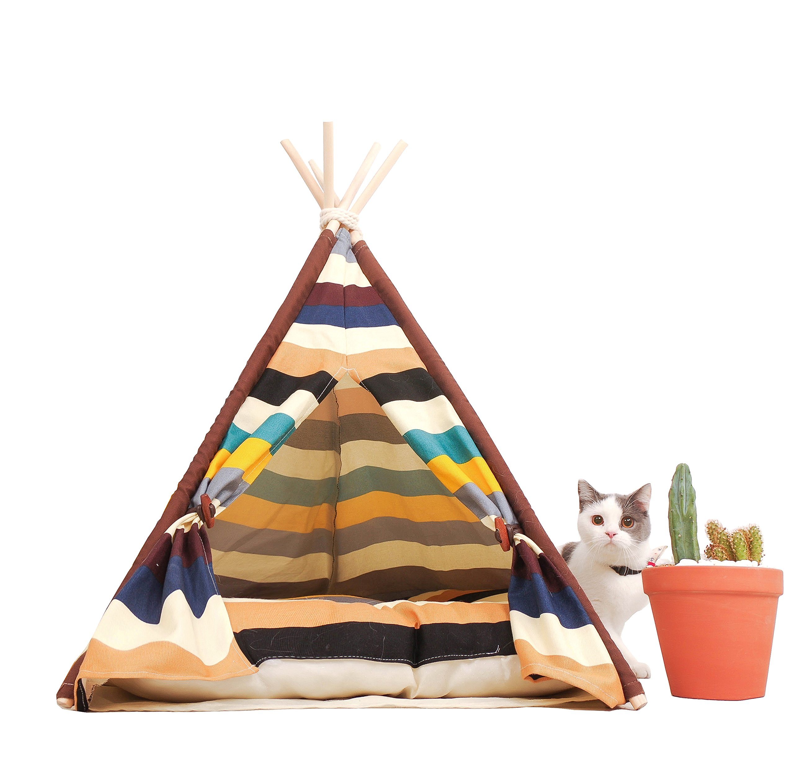 little dove Pet Teepee Dog(Puppy) & Cat Bed - Portable Pet Tents & Houses for Dog(Puppy) & Cat Colorful Style 24 Inch with Thick Cushion