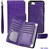 "Case for iPhone 6/6S Plus, xhorizon TM FLK Leather Folio Wallet Magnetic Detachable Removable Wristlet Purse Multiple Card Slots Cover for iPhone 6 Plus / iPhone 6S Plus [5.5""] (Purple)"