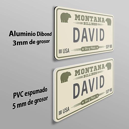 MEGADECOR Placa de Matrícula Decorativa de Aluminio o PVC Impreso de Estilo Vintage Americano con Nombre David 8 Modelos (Oklahoma, PVC 5mm): Amazon.es: Hogar