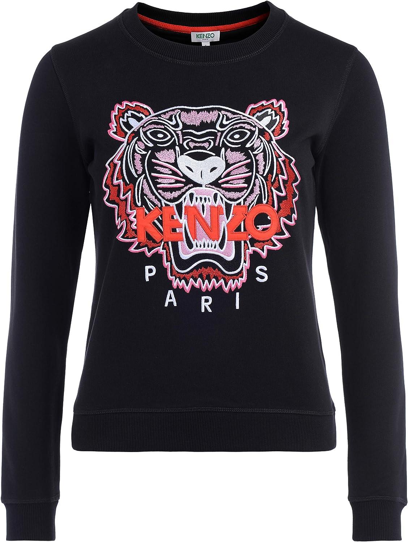 Kenzo Sudadera Tigre Negra Bordada Frontal Multicolores y Logotipo Rojo