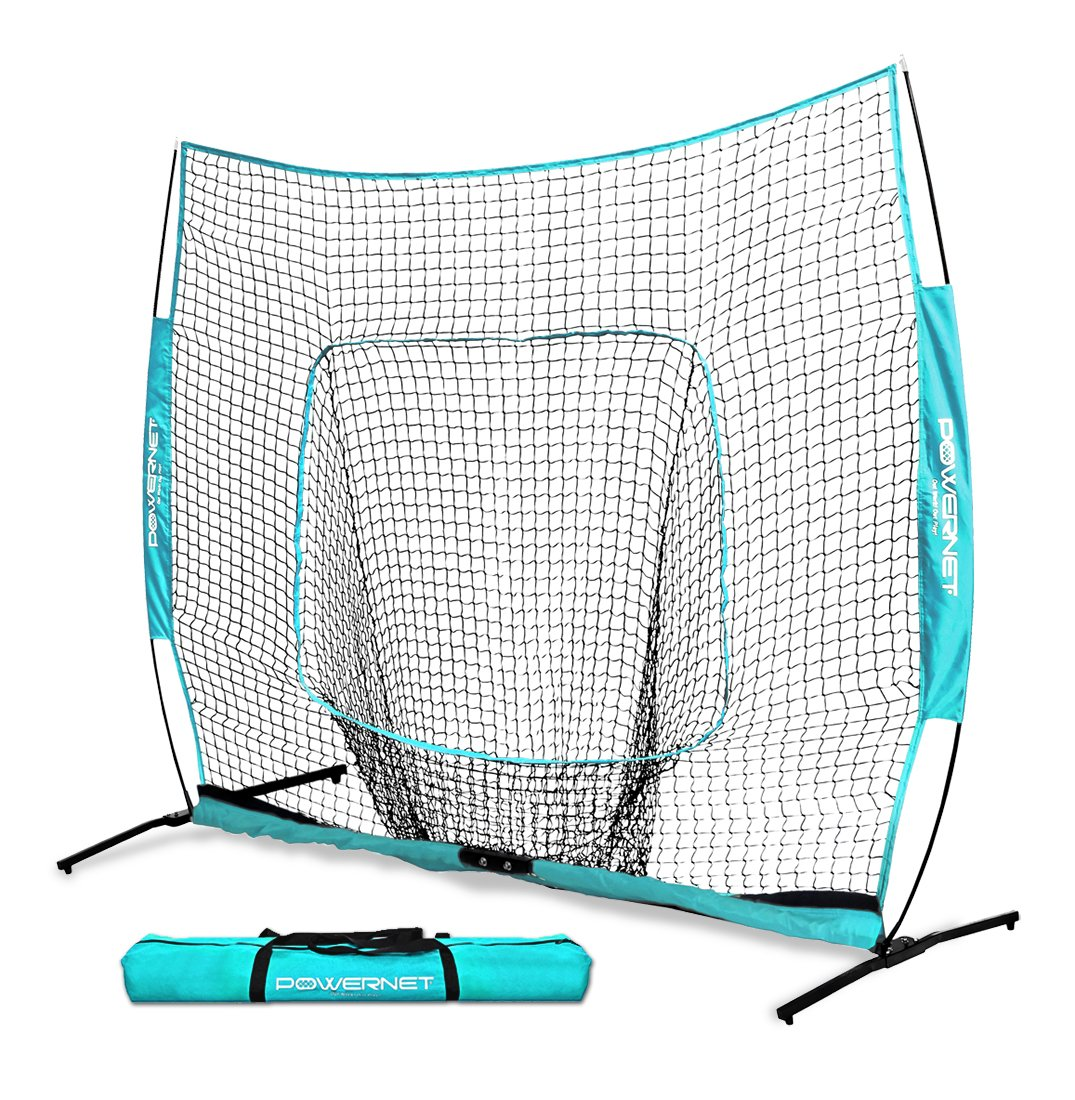 PowerNet 7x7 PRO Net with One Piece Frame (Sky Blue) | Baseball Softball Practice Net | Training Aid for Hitting Pitching Batting Fielding Portable Backstop | Bow Style Frame | Non-Tip Weighted Base by PowerNet