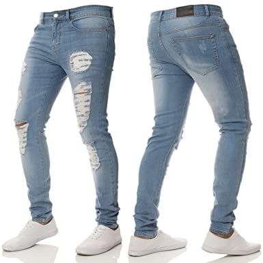 ca347d2c7a Enzo Mens Super Stretch Skinny FIT Ripped Distressed Jean Midstone  WASH-EZ376  Amazon.co.uk  Clothing