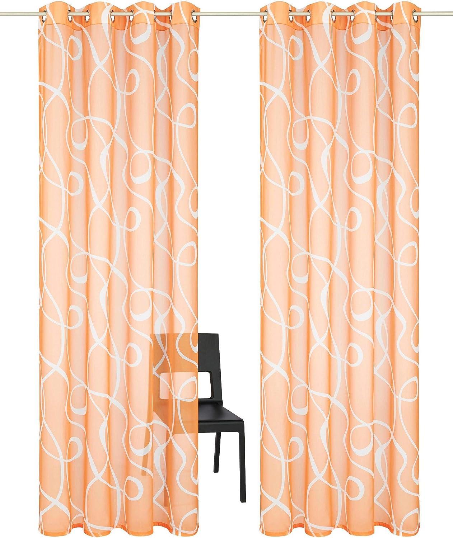 BxH 140x145cm, Grau mit Kr/äuselband LiYa 1 St/ück Gardine mit Druck Design Vorhang Transparent Voile Vorh/änge