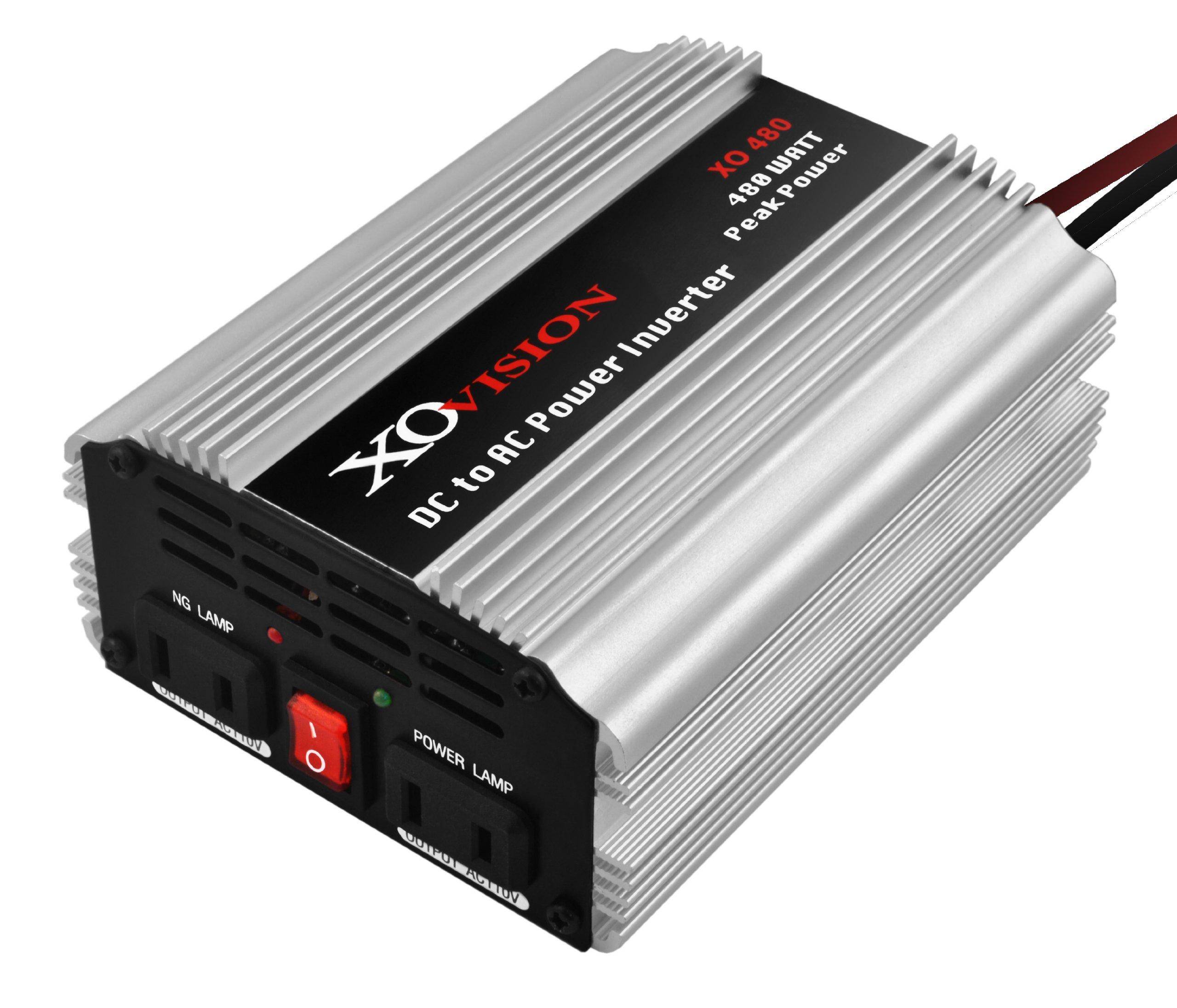XO Vision 480-Watt DC to AC Power Inverter, (Silver)