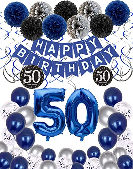 Buy 50th Birthday Decorations For Women Or Men 50 Year Old Birthday Party Supplies Gifts For Her Him Including Happy Birthday Banner Fringe Curtain Tablecloth Photo Props Foil Balloons Sash Online In