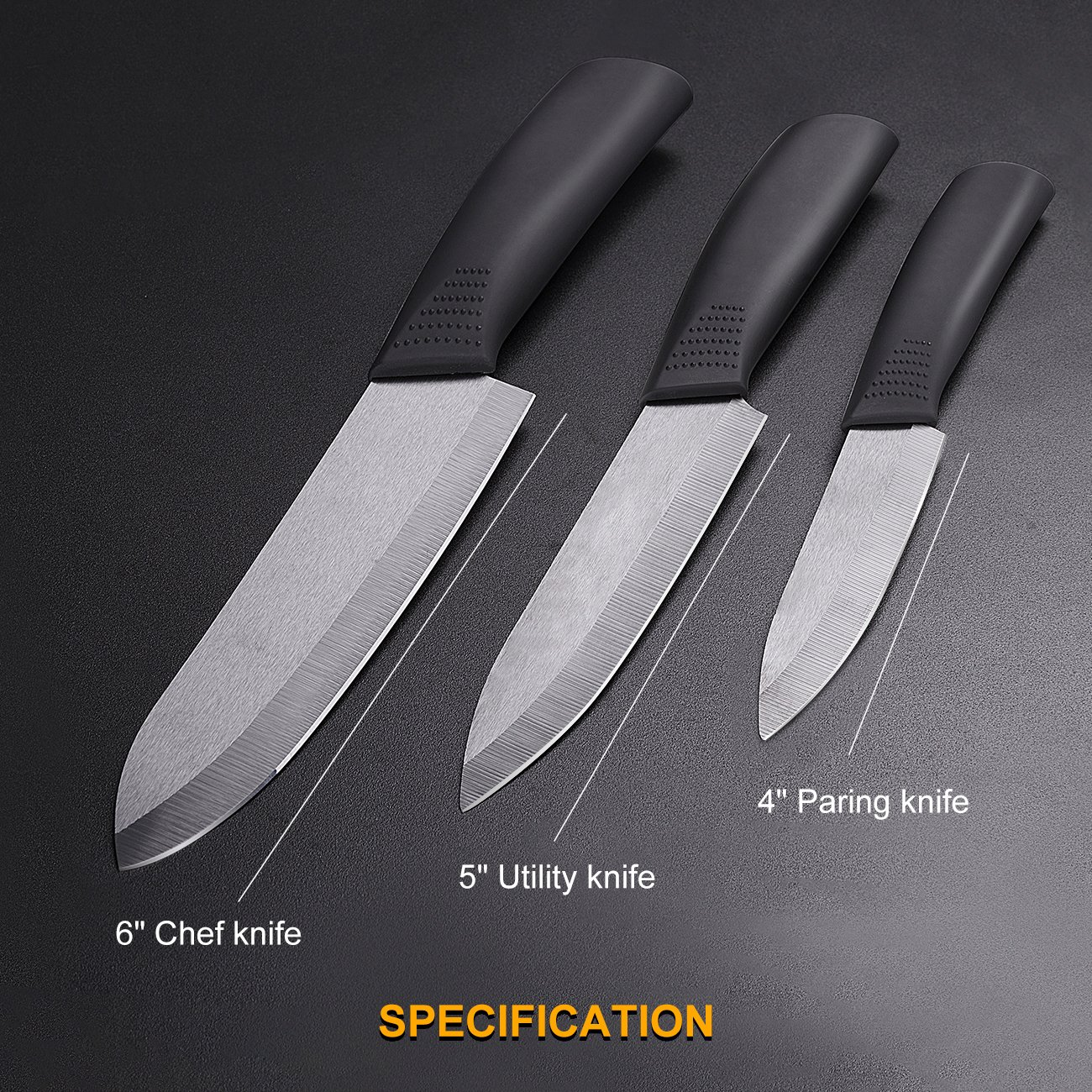 Cutlery Ceramic Knife Set,Rust Proof 4'' Paring 5'' Utility 6'' Chef Knife for Fruit Meat Vegatable Sushi by iTovila (Image #2)