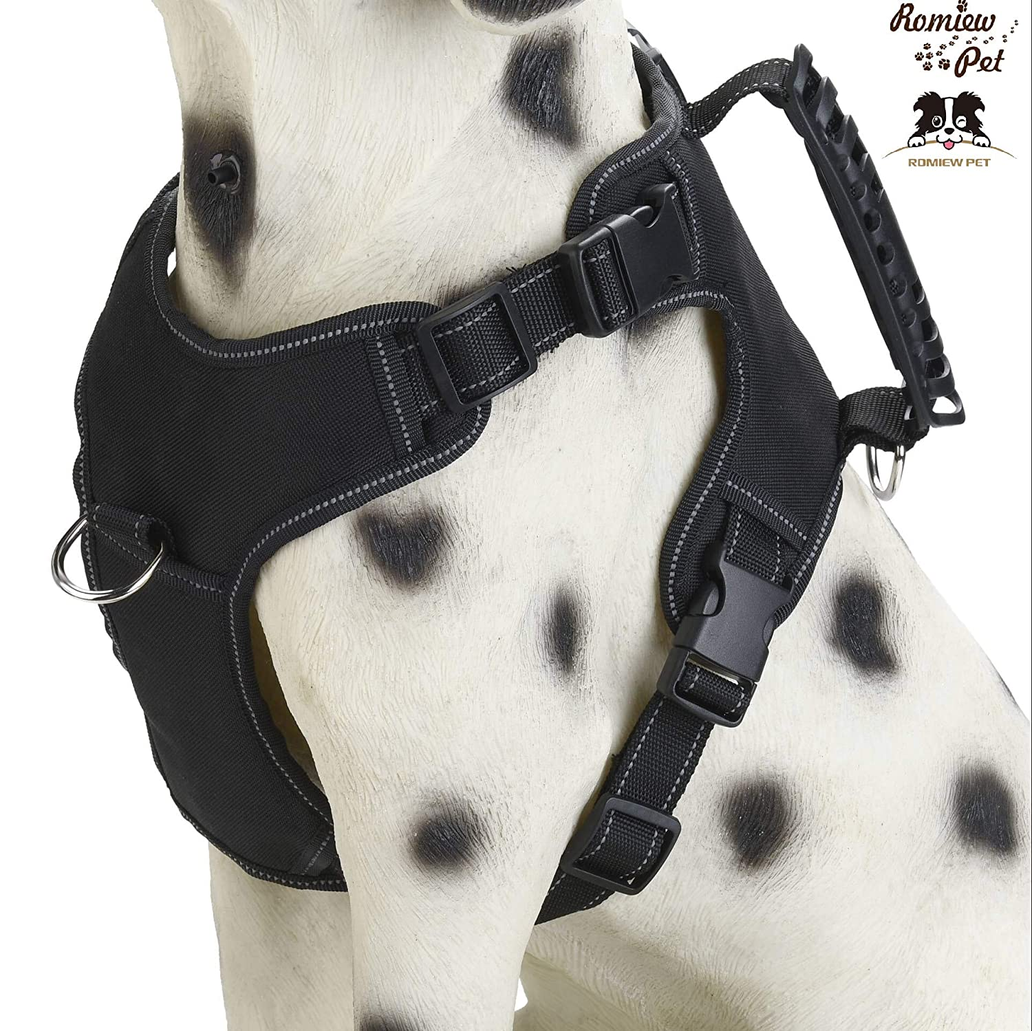 Black Small Black Small Romiew No Pull Dog Harness Adjustable Outdoor Pet Vest for Easy Walking (Small, Black)