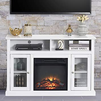 Good Gracious Electric Fireplace Tv Stand Fit Up To 50 Flat Screen Tv With Two Tempered Glass Cabinet Entertainment Center For Living Room White Furniture Decor