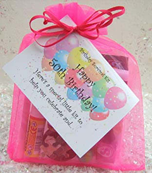 50TH Birthday Survival Kit For Her FUCHSIA Joke A Fun Card Alternative