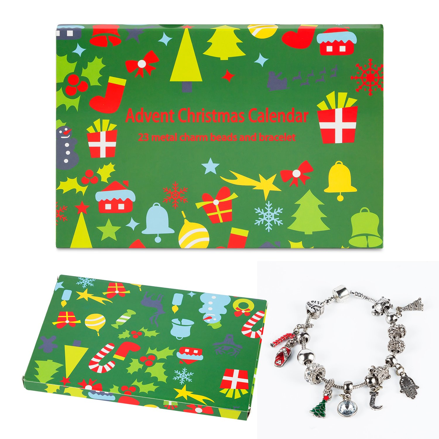 Mouttop Advent Calendar, 24 Day Advent Calendar with Christmas Fashion Jewellery 23 charms with 1 Bracelet and 1 necklace
