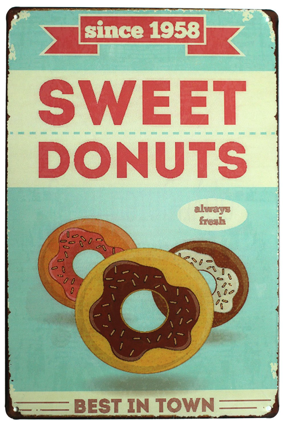 SUMIK Sweet Donuts Best in Town, Metal Tin Sign, Vintage Art Poster Plaque Kitchen Home Wall Decor