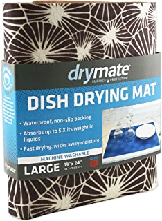 """product image for Drymate Dish Drying Mat, Premium XL Size (19"""" x 24""""), Kitchen Dish Drying Pad – Absorbent/Waterproof – Machine Washable (Made in the USA) (Kahopo Grey)"""