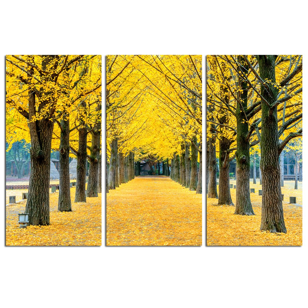 Amazon.com: Live Art Decor - Fall Canvas Wall Art, Row of Yellow ...