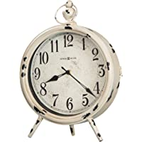Howard Miller Saxony Mantel Clock 635-214 – Distressed Antique White Finish, Aged Metal, Black Arabic Numerals, Glass…