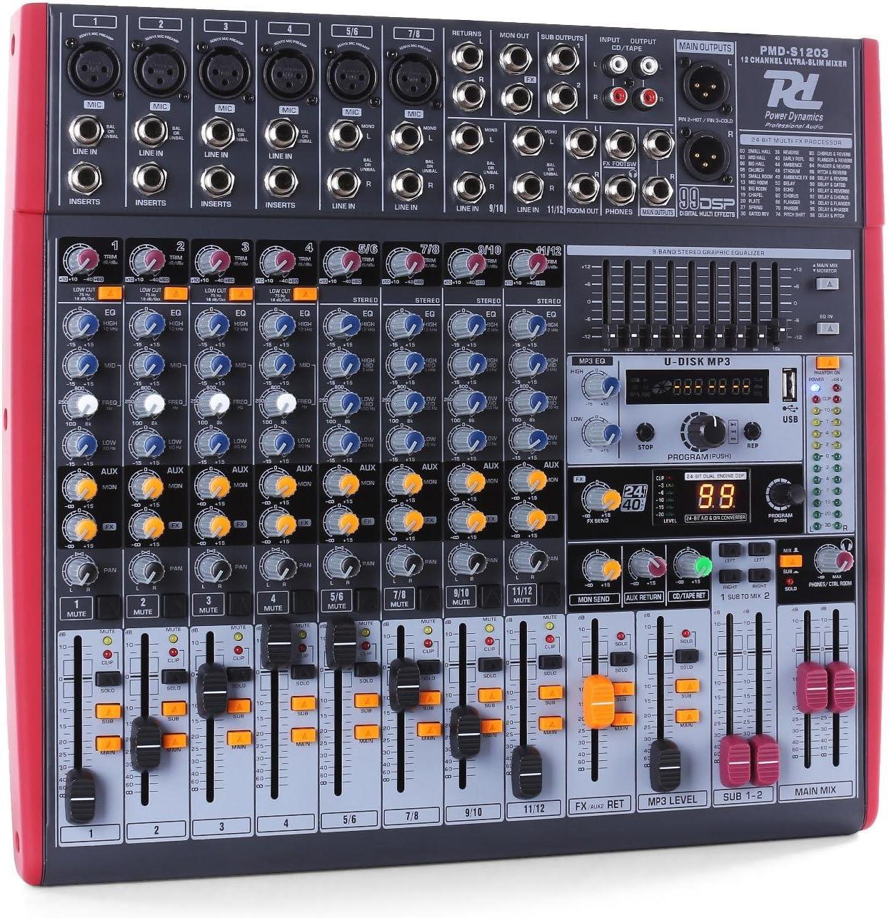 Power Dynamics PDM-S1203 - Mesa de mezclas 12 canales USB
