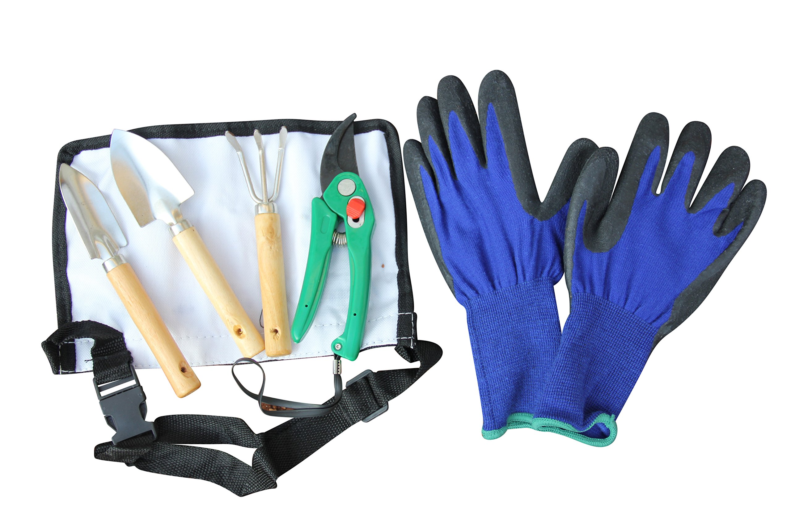 Women's Durable Long Cuff Gardening Gloves Plus A 4 Piece Tool Set For Transplanting Seedlings Or Bonsai Work - Package for Lady Gardeners