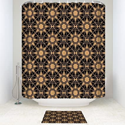 Waterproof Repeat Star Pattern Black Gold Bathroom Shower Curtain With Mats Rugs Bath Accessory Set